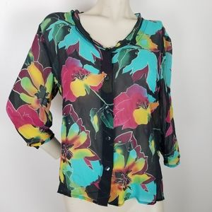 Soft surroundings 100% silk floral button front